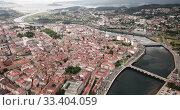 Купить «Aerial view on the city Pontevedra. Spain», видеоролик № 33404059, снято 18 июня 2019 г. (c) Яков Филимонов / Фотобанк Лори