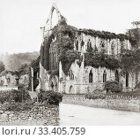 Купить «Tintern Abbey, Monmouthshire, Wales, United Kingdom. The abbey was founded in 1131. After an anonymous photograph taken in the mid-19th century.», фото № 33405759, снято 5 сентября 2018 г. (c) age Fotostock / Фотобанк Лори