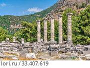 Купить «The Temple of Athena Polias in the Ancient Priene, Turkey», фото № 33407619, снято 20 июля 2019 г. (c) Sergii Zarev / Фотобанк Лори