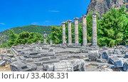 Купить «The Temple of Athena Polias in the Ancient Priene, Turkey», фото № 33408331, снято 20 июля 2019 г. (c) Sergii Zarev / Фотобанк Лори