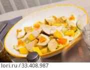Купить «Salad with chicken, egg and pineapple», фото № 33408987, снято 9 июля 2020 г. (c) Яков Филимонов / Фотобанк Лори