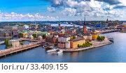 Купить «Panorama of Gamla Stan in Stockholm, Sweden», фото № 33409155, снято 28 августа 2018 г. (c) Коваленкова Ольга / Фотобанк Лори