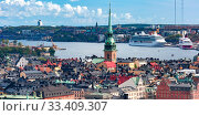Купить «Panorama of Gamla Stan in Stockholm, Sweden», фото № 33409307, снято 28 августа 2018 г. (c) Коваленкова Ольга / Фотобанк Лори