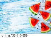 Pieces of watermelon and ice. Стоковое фото, фотограф Елена Блохина / Фотобанк Лори