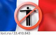 Купить «Warning sign with crossed out man on a background French flag.», фото № 33410843, снято 18 января 2018 г. (c) Ярослав Данильченко / Фотобанк Лори