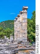 Купить «Ruins of the Ancient Temple in Priene, Turkey», фото № 33421659, снято 20 июля 2019 г. (c) Sergii Zarev / Фотобанк Лори