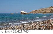 Petra tou Romiou or Aphrodite Rock Beach, one of the main attractions and landmarks of Cyprus island. Стоковое видео, видеограф Serg Zastavkin / Фотобанк Лори