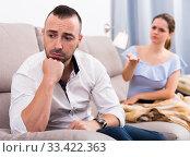 Купить «Sad male is depressing and husband is supporting him», фото № 33422363, снято 19 октября 2017 г. (c) Яков Филимонов / Фотобанк Лори