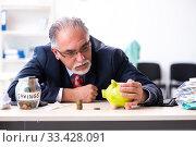 Купить «Old male accountant in budget planning concept», фото № 33428091, снято 12 сентября 2019 г. (c) Elnur / Фотобанк Лори