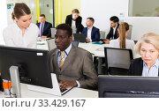 Купить «Business people working in coworking space», фото № 33429167, снято 10 марта 2018 г. (c) Яков Филимонов / Фотобанк Лори
