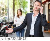Купить «Man ignoring frustrated girl», фото № 33429331, снято 11 апреля 2017 г. (c) Яков Филимонов / Фотобанк Лори