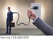 Купить «Businessman being powered by electricity and plug», фото № 33429559, снято 4 апреля 2020 г. (c) Elnur / Фотобанк Лори