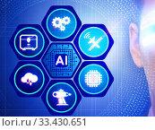 Купить «Artificial intelligence concept with businessman», фото № 33430651, снято 21 ноября 2016 г. (c) Elnur / Фотобанк Лори