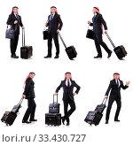 Купить «Arab man with luggage on white», фото № 33430727, снято 22 октября 2013 г. (c) Elnur / Фотобанк Лори
