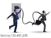 Купить «Businessman being powered by electricity and plug», фото № 33431235, снято 4 апреля 2020 г. (c) Elnur / Фотобанк Лори