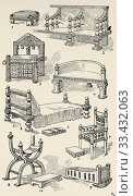 Middle Ages. Wooden furniture. Stool, Bench, Takeaway chair, Bench, Bed, Stools, Armchairs, Cot. Old engraving illustration from the book Historia Universal by Cesar Canti 1891. Редакционное фото, фотограф Jerónimo Alba / age Fotostock / Фотобанк Лори