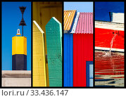 Купить «Photo collage sea, fish hut and boat concept», фото № 33436147, снято 10 июля 2020 г. (c) easy Fotostock / Фотобанк Лори