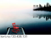 Купить «Northern Saskatchewan Lake Red Chair on Dock», фото № 33438131, снято 25 мая 2020 г. (c) age Fotostock / Фотобанк Лори