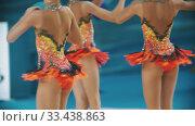 Купить «RUSSIA, KAZAN 12-03-2020, Kazan Stars Open: Young women showing their performance at the rhythmic gymnastics tournament», видеоролик № 33438863, снято 27 мая 2020 г. (c) Константин Шишкин / Фотобанк Лори