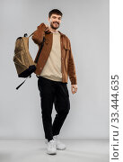 Купить «young man with backpack», фото № 33444635, снято 22 февраля 2020 г. (c) Syda Productions / Фотобанк Лори