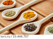 Купить «spoons with different spices on wooden table», фото № 33444707, снято 6 сентября 2018 г. (c) Syda Productions / Фотобанк Лори