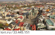 Aerial view of residential districts of Liberec city and grandiose building of Town Hall in autumn day, Czech Republic. Стоковое видео, видеограф Яков Филимонов / Фотобанк Лори