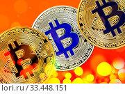 Купить «Physical version of Bitcoin (new virtual money) with colorful effect», фото № 33448151, снято 1 июня 2020 г. (c) easy Fotostock / Фотобанк Лори