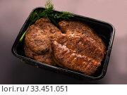 Купить «Meat steak portion high angle shot», фото № 33451051, снято 28 января 2020 г. (c) Гурьянов Андрей / Фотобанк Лори