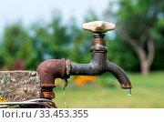 Купить «A old rusty water tap in garden.», фото № 33453355, снято 10 апреля 2020 г. (c) age Fotostock / Фотобанк Лори