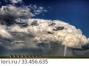 Купить «Storm Clouds Canada warning ominous skies Saskatchewan», фото № 33456635, снято 2 июня 2020 г. (c) age Fotostock / Фотобанк Лори