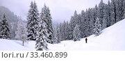 Купить «Einsamer Wanderer stapft in tief verschneitem Winterwald durch den hohen Neuschnee. Querformat. Lonesome hiker trudges through the deep fresh snow in winter forest. Horizontal format.», фото № 33460899, снято 31 мая 2020 г. (c) easy Fotostock / Фотобанк Лори