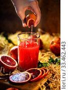 Купить «Детские руки выжимают апельсин», фото № 33462443, снято 30 марта 2020 г. (c) Марина Володько / Фотобанк Лори