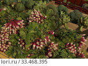 Markets with fresh food are sheen in differents places during State of Alarm. Only essential services to remain open, such as supermarkets, farms, or hospitals. Редакционное фото, фотограф Manuel Cedron / age Fotostock / Фотобанк Лори