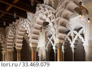 Купить «Aljaferia Palace. North gate arches Patio de Santa Isabel. Zaragoza, Aragon, Spain», фото № 33469079, снято 2 июня 2020 г. (c) Яков Филимонов / Фотобанк Лори