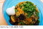 Купить «Pilaf from lamb, prunes, dried apricots», фото № 33469143, снято 16 августа 2018 г. (c) Яков Филимонов / Фотобанк Лори