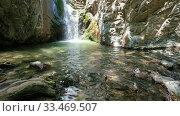 Купить «The Millomeris waterfall. Platres, Cyprus.», видеоролик № 33469507, снято 25 марта 2020 г. (c) Serg Zastavkin / Фотобанк Лори