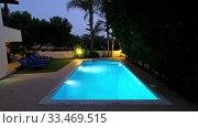 Купить «The night view of the villa swimming pool. Pissouri village. Limassol district. Cyprus», видеоролик № 33469515, снято 26 марта 2020 г. (c) Serg Zastavkin / Фотобанк Лори
