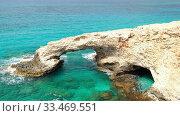 Купить «Love Bridge at Cape Greco. Cyprus», видеоролик № 33469551, снято 31 марта 2020 г. (c) Serg Zastavkin / Фотобанк Лори