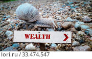 Купить «Street Sign theDirection Way to Wealth», фото № 33474547, снято 2 апреля 2020 г. (c) easy Fotostock / Фотобанк Лори