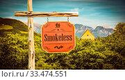 Купить «Street Sign the Direction Way to Smokeless», фото № 33474551, снято 2 апреля 2020 г. (c) easy Fotostock / Фотобанк Лори