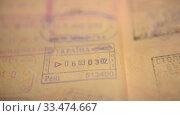 Купить «Passport, border control, border check, Europe, Schengen, visa, emigration, tourism», видеоролик № 33474667, снято 19 ноября 2019 г. (c) Mikhail Erguine / Фотобанк Лори