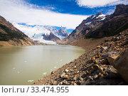 Lake at foot of Fitz Roy, Cerro Torre, Andes, Argentina. Стоковое фото, фотограф Яков Филимонов / Фотобанк Лори