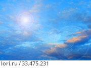 Купить «Blue sky background. Picturesque colorful clouds lit by sunlight. Vast sky landscape panoramic scene», фото № 33475231, снято 15 июля 2019 г. (c) Зезелина Марина / Фотобанк Лори