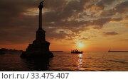 Памятник затонувшим кораблям на закате (2016 год). Стоковое видео, видеограф Артем Шутов / Фотобанк Лори