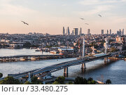 Купить «View of Istanbul, Golden horn Bay and metro bridge in the early morning, Istanbul, Turkey», фото № 33480275, снято 13 мая 2015 г. (c) Наталья Волкова / Фотобанк Лори