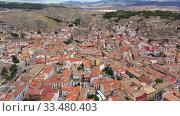 High view of Calatayud and buildings at sunny day, Province of Zaragoza, Spain (2019 год). Стоковое видео, видеограф Яков Филимонов / Фотобанк Лори