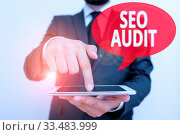 Word writing text Seo Audit. Business photo showcasing Search Engine Optimization validating and verifying process. Стоковое фото, фотограф Zoonar.com/Artur Szczybylo / easy Fotostock / Фотобанк Лори