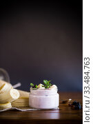 Купить «home sweet banana yogurt in a glass jar», фото № 33484763, снято 1 апреля 2020 г. (c) Peredniankina / Фотобанк Лори