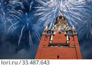 Купить «The Spasskaya Tower and fireworks in honor of Victory Day celebration (WWII), Red Square, Moscow, Russia», фото № 33487643, снято 9 мая 2019 г. (c) Владимир Журавлев / Фотобанк Лори