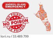 Купить «Vector collage of wildfire Andros Island of Bahamas map and red round grunge No Poison seal stamp. Emergency Andros Island of Bahamas map mosaic of destruction, energy strike elements.», фото № 33489799, снято 26 мая 2020 г. (c) age Fotostock / Фотобанк Лори